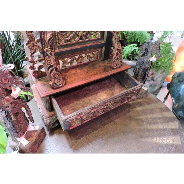 Ornately Carved Vanity Mirror From Madura Island - Image 5 of 7