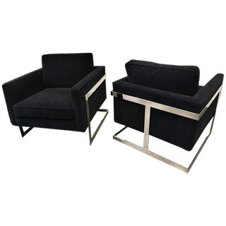 """Pair of Polished Chrome """"Cube"""" Chairs by Milo Baughman For Sale"""