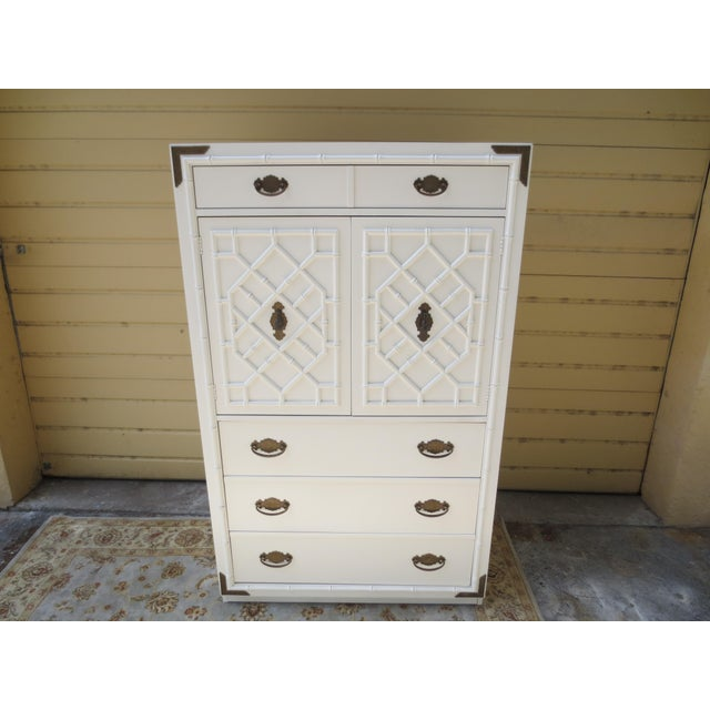 1960s Chippendale Thomasville Huntley Faux Bamboo Tall Chest With Brass Accents For Sale - Image 12 of 12