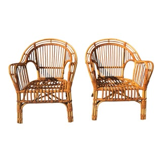 Franco Albini Style Mid-Century Brighton Style Bamboo / Rattan Bentwood Chair – a Pair For Sale