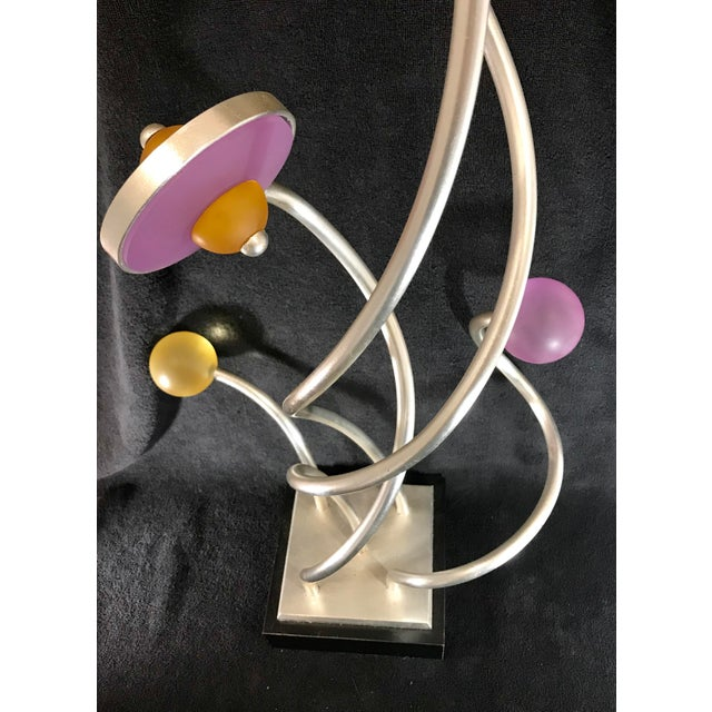 Vintage Mid-Century Modern Abstract Memphis Style Metal and Lucite Flower Sculpture For Sale - Image 9 of 12
