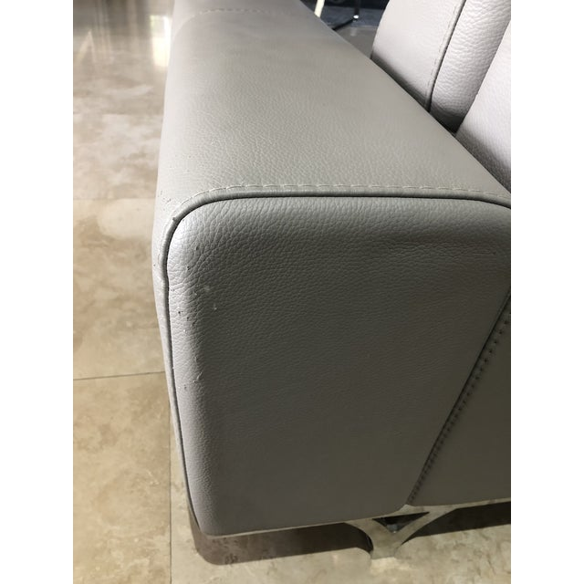 Gray Modern Roche Bobois Gray Leather Sectional Sofa For Sale - Image 8 of 11