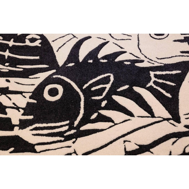 Mid-Century Modern Vintage Maurits Escher Scandinavian Black and White Rug - 5′7″ × 8′ For Sale - Image 3 of 10