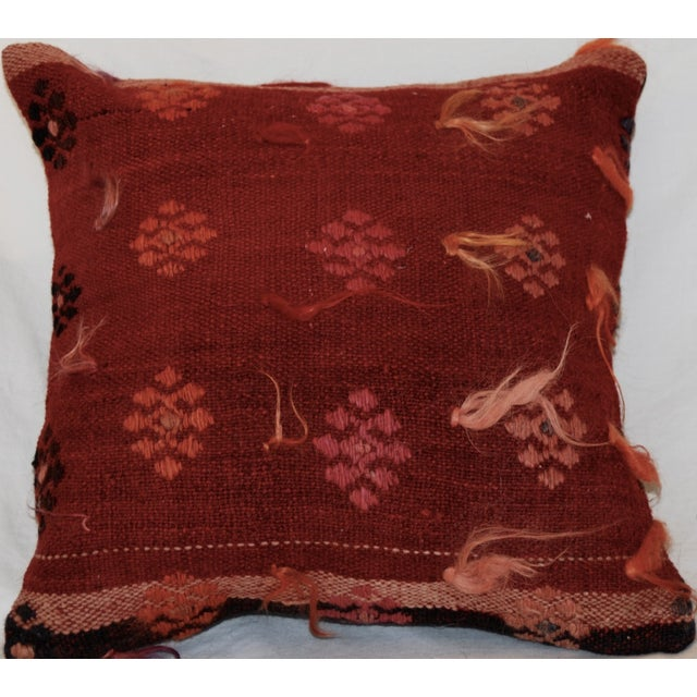 Vintage Handmade Wool Decorative Boho Pillow - Image 5 of 6