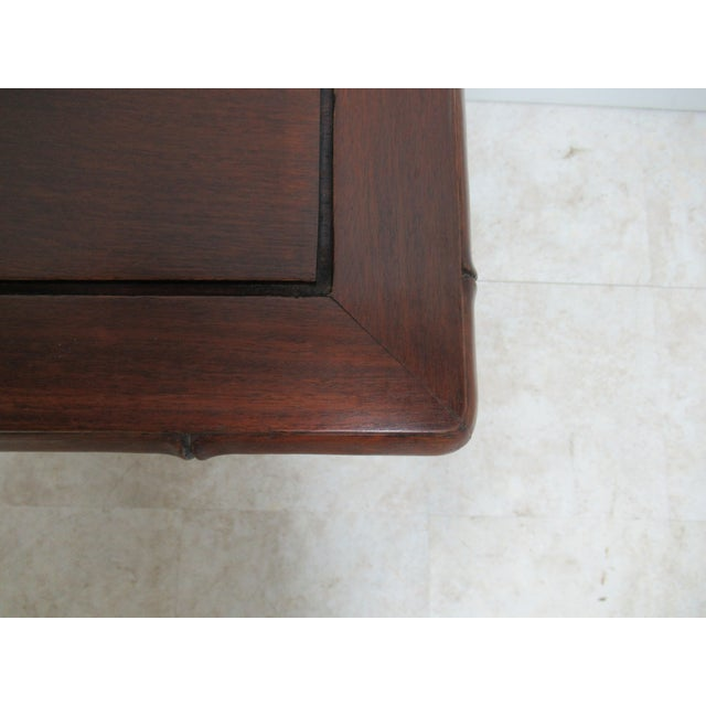 Vintage Chinese Chippendale Rosewood Faux Bamboo Lamp End Table For Sale - Image 9 of 10
