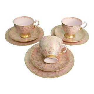 1940s Tuscan English Tea / Coffee & Dessert Service - Service for 3 For Sale