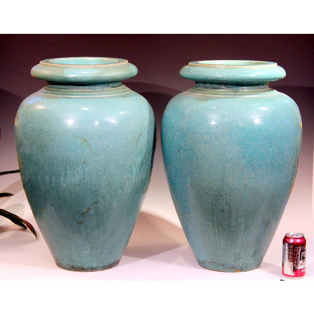 Large pair of garden urns by the Galloway Terracotta company of Philadelphia in green/turquoise crystalline glaze, circa...
