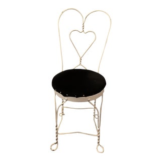 Wrought Iron Twisted Heart Ice Cream Parlor Chair For Sale