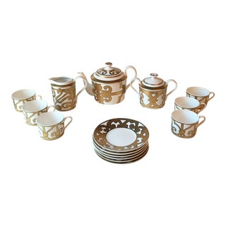 "Hermes Gold ""Balcon Du Guadalquivir"" Pattern Tea Set - 15 Piece Set For Sale"
