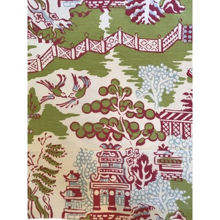 Chinoiserie Thibaut Luzon Printed Green and Raspberry Fabric - 2 1/2 Continuous Yards For Sale