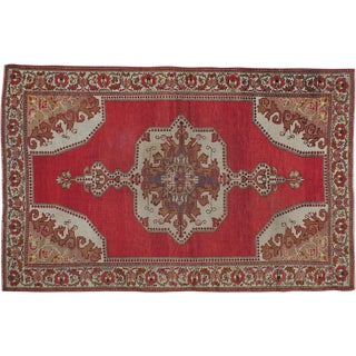 "Vintage Turkish Oushak Rug- 4'10"" x 7'4"""