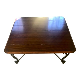 Traditional Cherry Wood and Iron Coffee Table For Sale