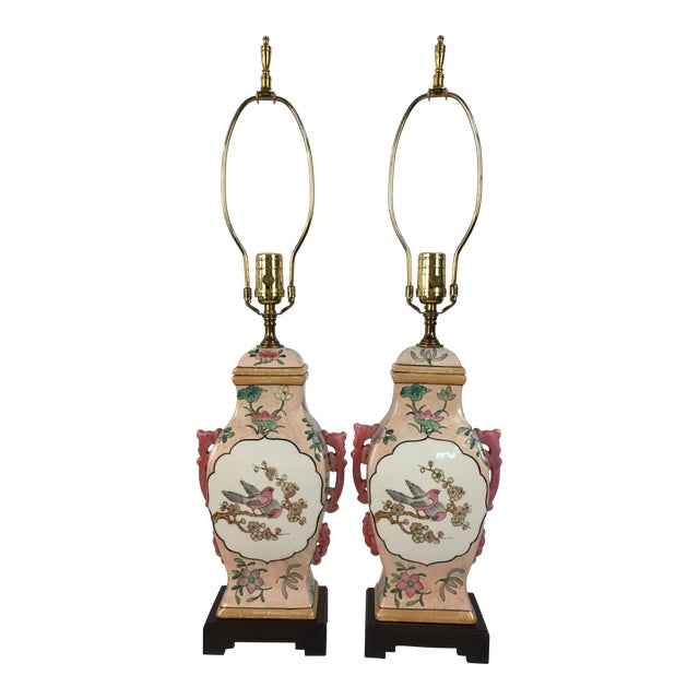 Pink With Floral Motif Chinoiserie Vintage Lamps - a Pair For Sale