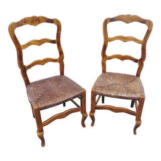 Mid 20th Century Country French Rush Seat Ladderback Chairs-a Pair For Sale