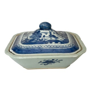 Antique Chinese Export Canton Blue Chinoiserie Vegetable Tureen and Cover For Sale