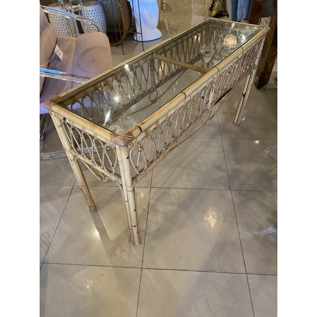 Vintage Tropical Palm Beach Rattan Glass Top Console Sofa Table For Sale In West Palm - Image 6 of 12
