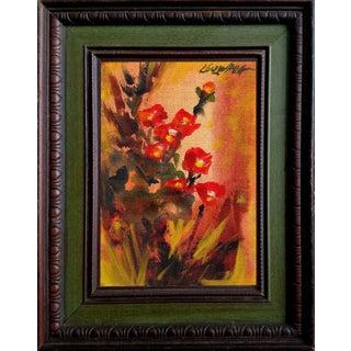 """Gladiolus"" Original Oil Painting by (Chris) Trella Koczwara Circa 1960's For Sale"