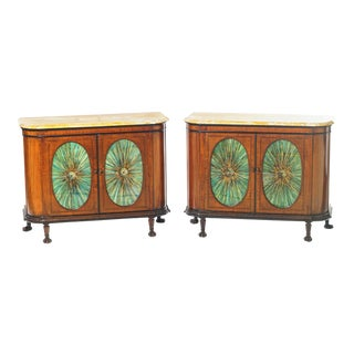 19th C. English Edwardian Marble Top Cabinets For Sale