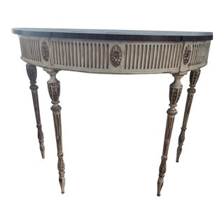 Ej Victor Detailed Inlay Demi-Lune Console Table For Sale