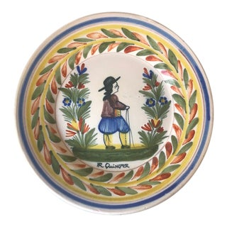 Antique French Faience- Hand Painted Quimper Breton Man Dinner Plate For Sale