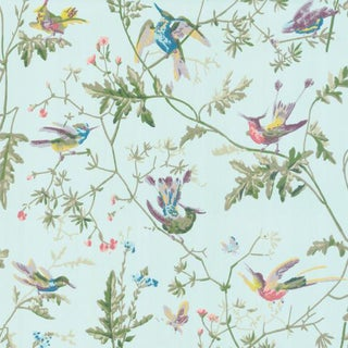 Sample - Cole & Son Hummingbirds Botanic Wallpaper For Sale
