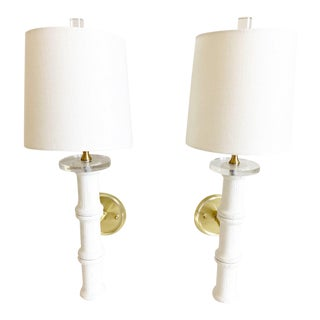 1950s Bamboo-Style Sconces & Shades - a Pair For Sale