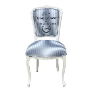 1970s Vintage Navy Ticking Fabric Bergere Side Chair For Sale