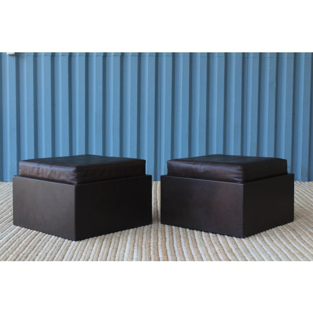 Pair of Leather Wrapped Ottomans, 1970s For Sale - Image 9 of 10