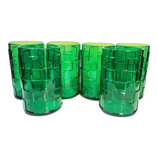 1970s Modern Acrylic Emerald Green Tumblers - Set of 6 For Sale