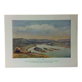 "American Color Print on Paper, ""Three Island Crossing"" by w.h. Jackson, Circa 1940 For Sale"