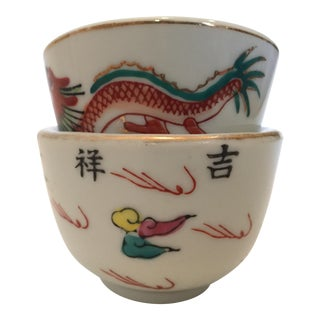 Painted Ceramic Nesting Bowls - A Pair For Sale