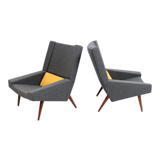 Rare Pair of Illum Wikkelsø Lounge Chairs