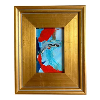 Blue and Red Mini Painting With Frame For Sale