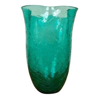 Blenko 404-S Handblown Crackle Pinched Vase For Sale