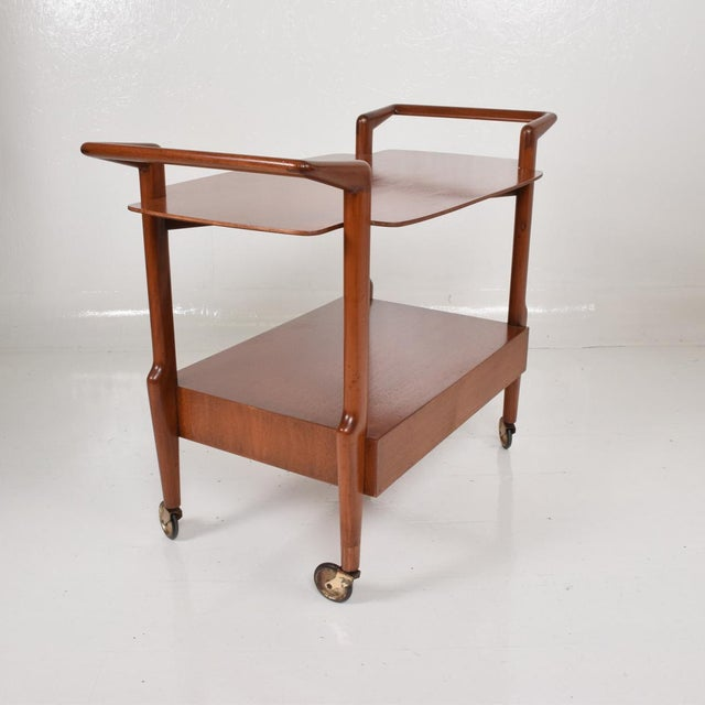 Mid-Century Mexican Modern Mahogany Service Cart For Sale - Image 4 of 10