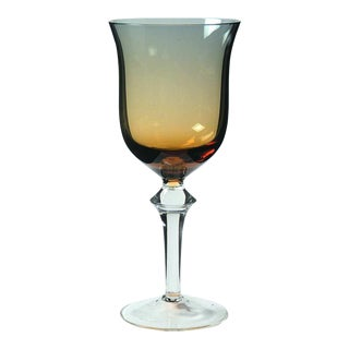 Denby Hand Blown Crystal Aurora Blue & Amber Ombre Glasses For Sale