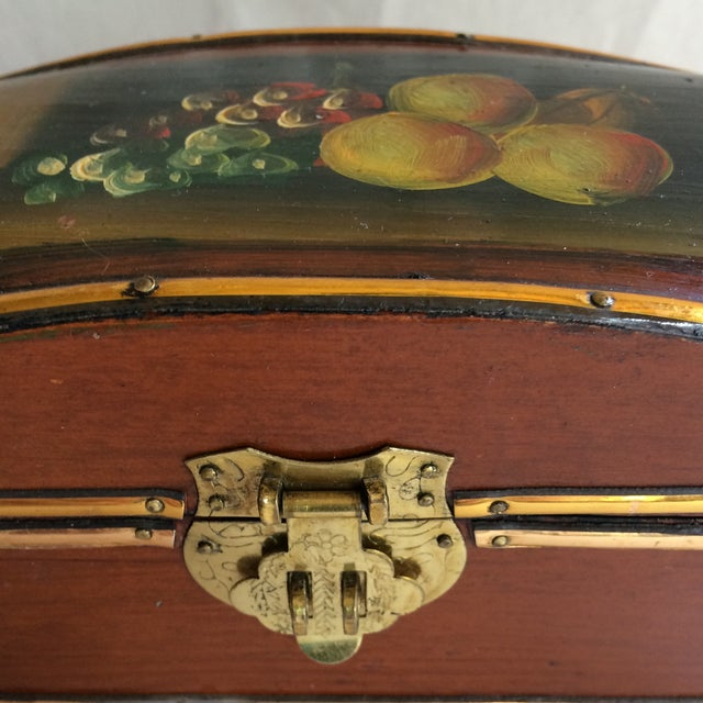 Vintage Hand Painted Fruit Motif Wooden Box For Sale - Image 9 of 11