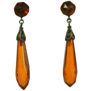 Art Deco Amber Drop Earrings For Sale