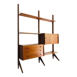 Mid Century Teak Free Standing Wall Unit by Blindheim Møbelfabrikk For Sale