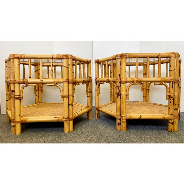 1960s Boho Chic Octagonal Rattan and Bamboo End Tables With Glass Tops - a Pair For Sale In West Palm - Image 6 of 12