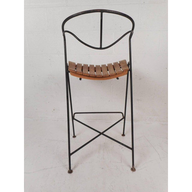 Arthur Umanoff Wrought Iron Bar Stools by Arthur Umanoff - Set of 3 For Sale - Image 4 of 10