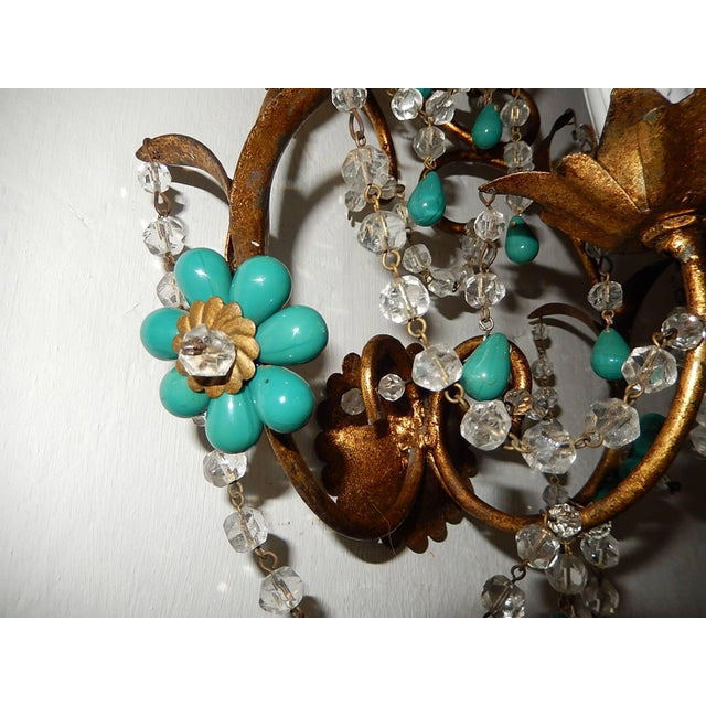 Glass French Turquoise Green Murano Beads Rock Crystal Swags Sconces For Sale - Image 7 of 10