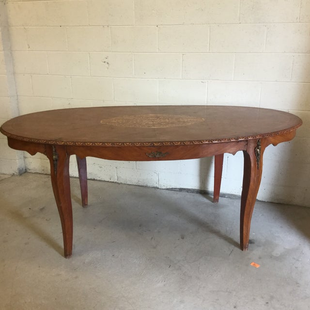 French Inlaid Ormolu Dining Table Desk For Sale - Image 13 of 13