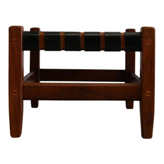 Mid-Century Modern Black Leather and Walnut Strap Stool