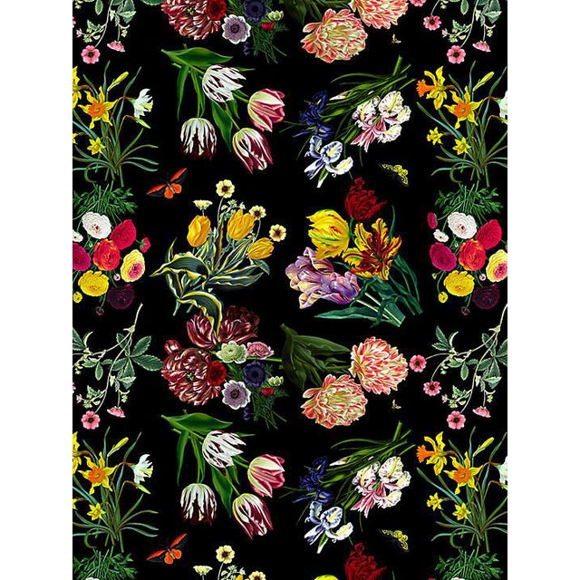 Scalamandre Nicolette Mayer for Scalamandre Flora & Fauna, Black Wallpaper For Sale