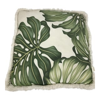 Boho Chic Style Monestara White and Green Canvas Palm Leaf Accent Pillow For Sale