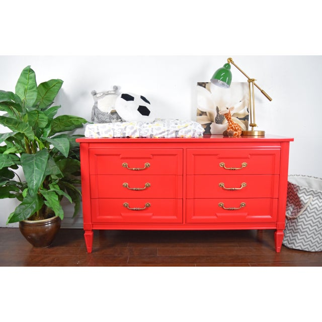 Thomasville statement dresser. Refinished in high gloss lacquer Positive Red by Sherwin Williams. Original handles were...