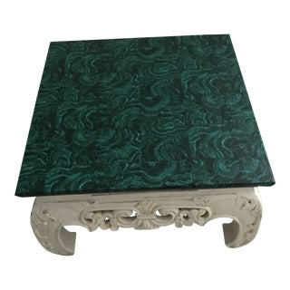 1970s Faux Malachite Top With Asian Base Table For Sale