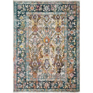 "Loloi Rugs Silvia Rug, Stone / Teal - 2'6""x4'0"" For Sale"
