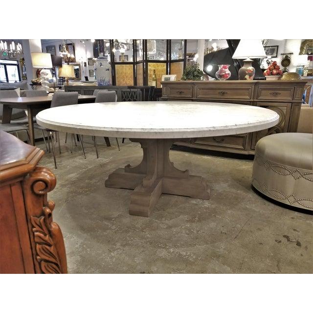 French Restoration Hardware Bastide Oak Marble Round Dining Table Chairish